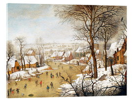 Acrylic print  A Winter Landscape with Skaters and a Bird Trap - Pieter Brueghel d.J.