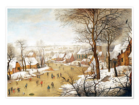 Premium poster A Winter Landscape with Skaters and a Bird Trap