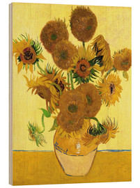 Wood print  Sunflowers - Vincent van Gogh
