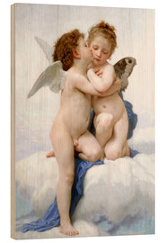 Wood print  The first kiss - William Adolphe Bouguereau