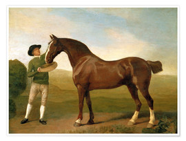 Premium poster  Groom feeding a bay hunter in a landscape - George Stubbs