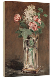 Wood print  Flowers in a Crystal Vase - Edouard Manet