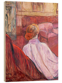 Wood print  Woman Seated on a Red Settee - Henri de Toulouse-Lautrec