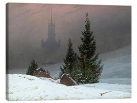 Canvas print  Winter Landscape with a Church - Caspar David Friedrich