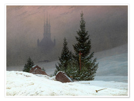 Poster  Winter Landscape with a Church - Caspar David Friedrich