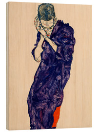 Wood print  Youth with violet frock - Egon Schiele