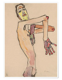 Premium poster  Nude with crossed arms - Egon Schiele