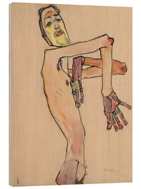 Wood print  Nude with crossed arms - Egon Schiele