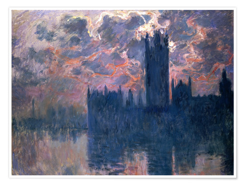 Premium poster Houses of Parliament, Sunset