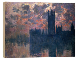 Wood print  Houses of Parliament, Sunset - Claude Monet