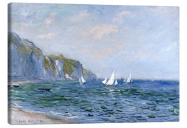 Canvas  Rocks and sailing boats in Pourville - Claude Monet