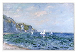 Poster  Rocks and sailing boats in Pourville - Claude Monet