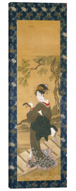 Canvas print  A woman plays the shamisen on the porch - Utagawa Toyokuni