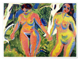 Premium poster Two naked women in the forest