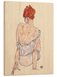 Wood print  Female back - Egon Schiele
