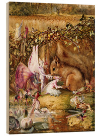 Wood print  The injured squirrel - John Anster Fitzgerald