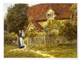 Premium poster  Mother and child on lodge - Helen Allingham