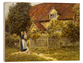 Wood  Mother and child on lodge - Helen Allingham