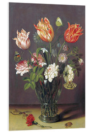 Foam board print  Tulips with other Flowers in a Glass on a Table - Jan Brueghel d.Ä.