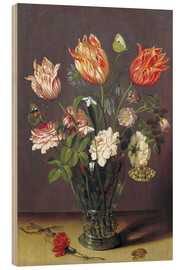 Wood print  Tulips with other Flowers in a Glass on a Table - Jan Brueghel d.Ä.