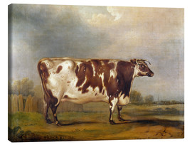 Canvas print  Wildair, an 8-year-old cow in a river landscape, 1827 - Thomas Weaver