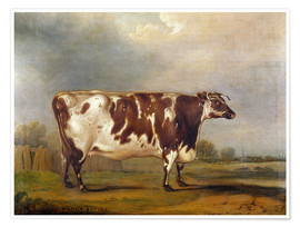 Premium poster  Wildair, an 8-year-old cow in a river landscape, 1827 - Thomas Weaver