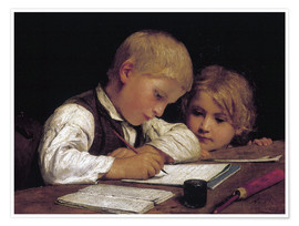 Premium poster  Boy writing with his sister - Albert Anker