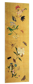 Foam board print  100 butterflies, flowers and insects, detail - Chen Hongshou
