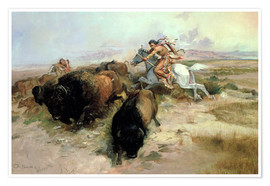 Premium poster  Buffalo Hunt, 1897 - Charles Marion Russell