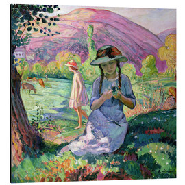 Aluminium print  Young Girl picking Flowers, 1910 - Henri Lebasque