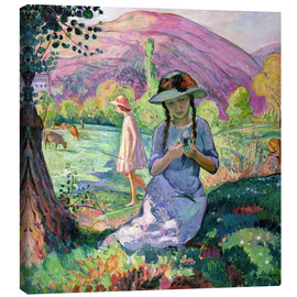 Canvas print  Young Girl picking Flowers, 1910 - Henri Lebasque