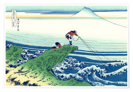 Poster  A fisherman stands on a rock on Kajikazawa in Kai Province - Katsushika Hokusai