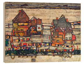 Wood print  Houses with colorful laundry - Egon Schiele
