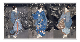 Premium poster An oban triptych depicting a Nocturnal Scene with three Bijin