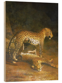Wood print  Two Leopards lying in the Exeter Exchange - Jacques Laurent Agasse