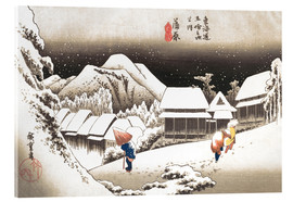 Acrylic glass  Night Snow, Kambara - Utagawa Hiroshige