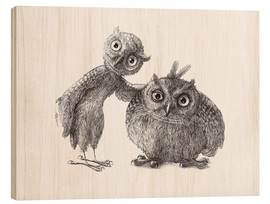 Wood print  Two Owls - Stan & Oliver - Stefan Kahlhammer