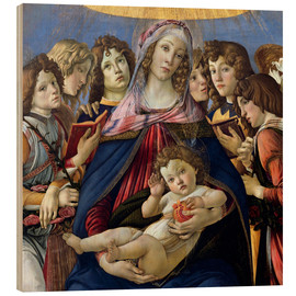 Wood print  Madonna and Child and Six Angels - Sandro Botticelli