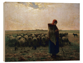 Wood print  The shepherdess - Jean-François Millet