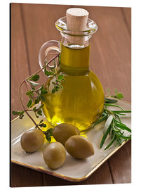 Aluminium print  Olive oil and olives - Edith Albuschat