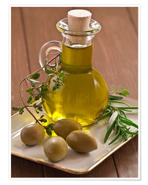 Poster  Olive oil and olives - Edith Albuschat