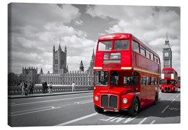Canvas  Westminster Bridge and Red Buses - Melanie Viola