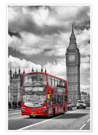 Poster  Big Ben and Red Bus - Melanie Viola