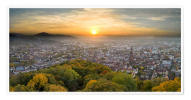 Premium poster  Freiburg at sunset - Jan Christopher Becke
