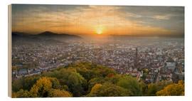 Wood print  Freiburg at sunset - Jan Christopher Becke