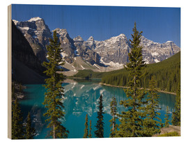 Wood print  Lake in front of the Canadian Rockies - Paul Thompson