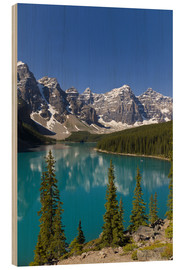 Wood print  Moraine Lake in the mountain valley - Paul Thompson