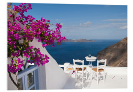 Forex  Hotel terrace with pink flowers and stunning views - Bill Bachmann