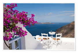 Premium poster  Hotel terrace with pink flowers and stunning views - Bill Bachmann
