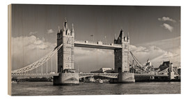 Wood print  Tower Bridge black and white - Melanie Viola